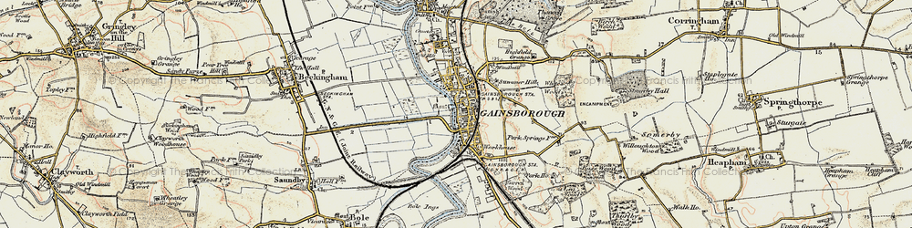 Old map of Gainsborough in 1903