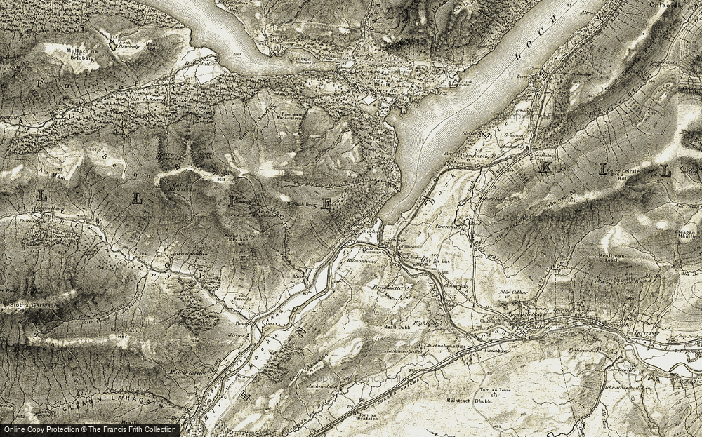 Old Map of Historic Map covering Allt Coire Choille-rais in 1906-1908