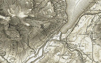Old map of Allt Coire Choille-rais in 1906-1908