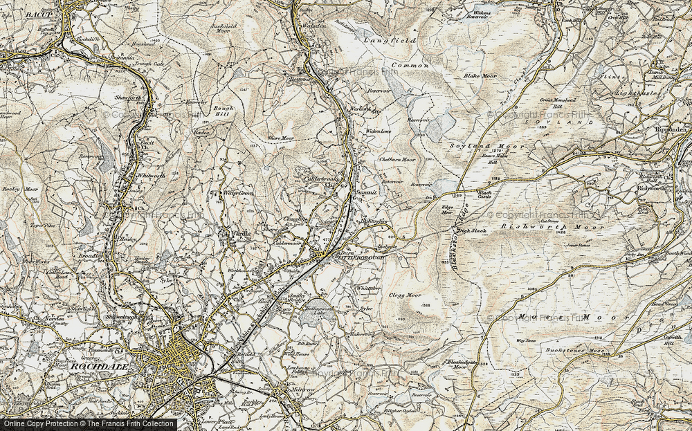 Old Map of Historic Map covering Aiggin Stone in 1903