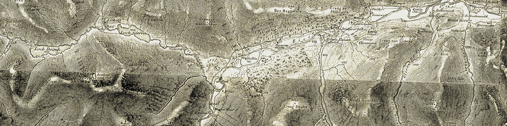 Old map of Allt Dubh-Liath in 1906-1908