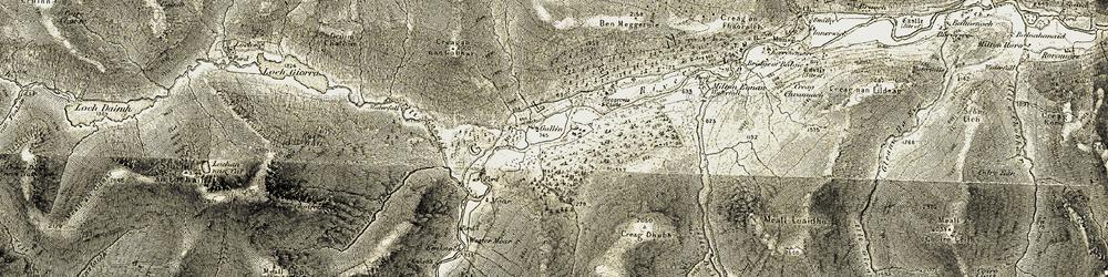 Old map of Glen Lyon in 1906-1908