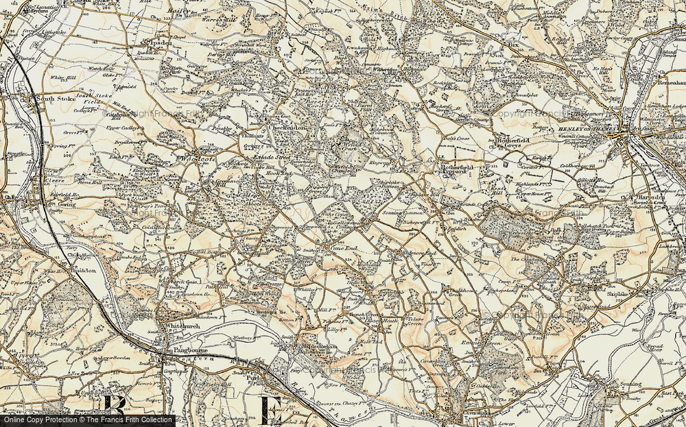 Old Map of Historic Map covering Wyfold Grange in 1897-1900