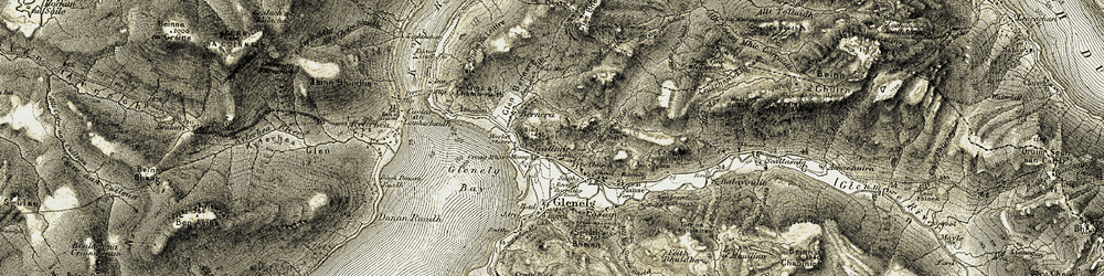 Old map of Allt Mòr Ghalltair in 1908-1909