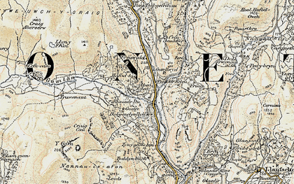 Old map of Afon Gamlan in 1902-1903