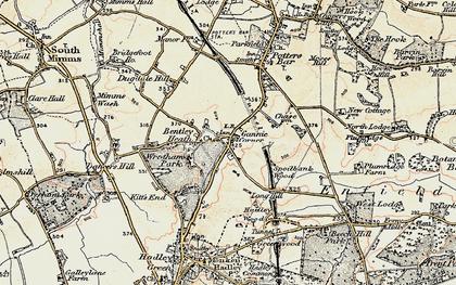 Old map of Ganwick Corner in 1897-1898