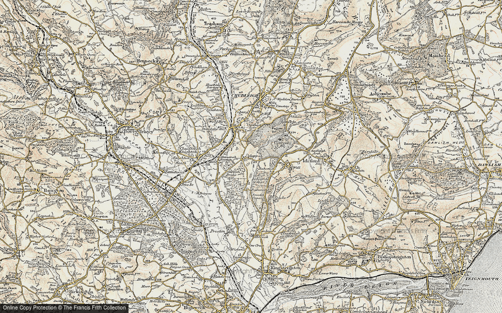 Old Map of Historic Map covering Babcombe in 1899-1900