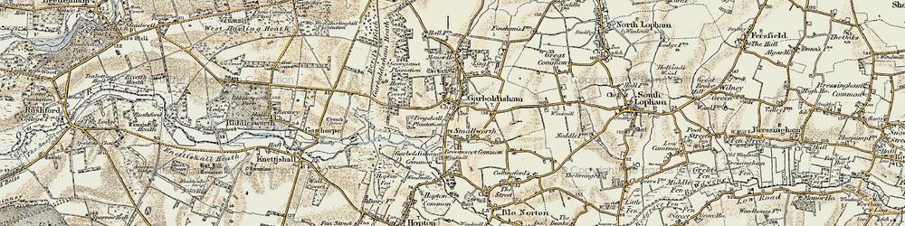 Old map of Garboldisham in 1901
