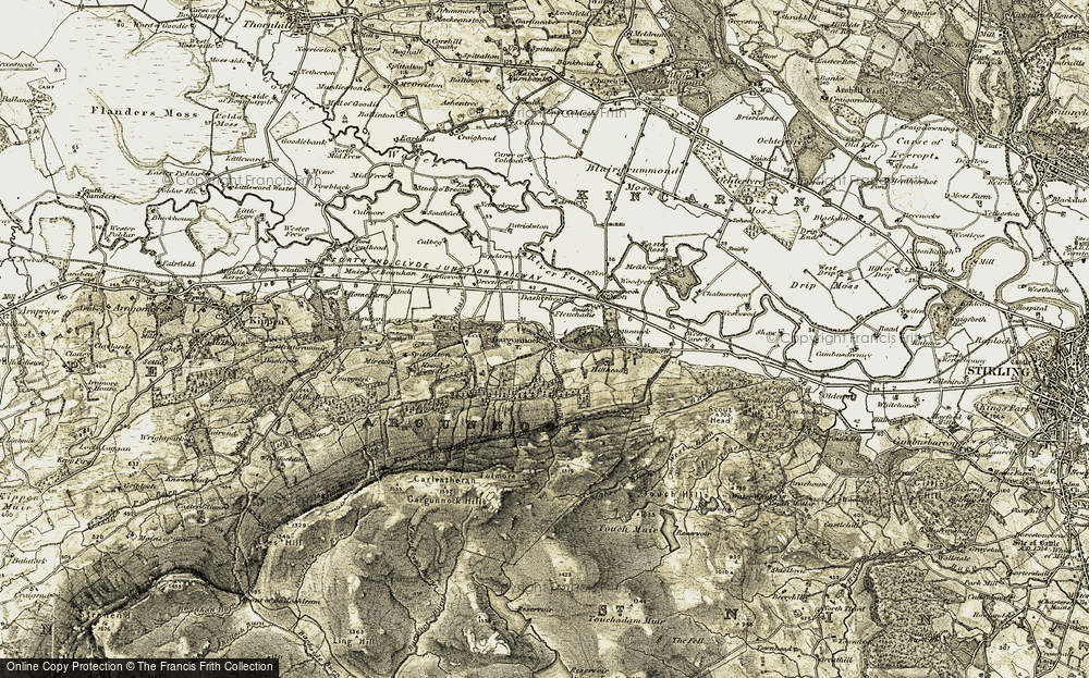 Old Map of Historic Map covering Leckie Burn in 1904-1907