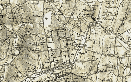Old map of Woodton Auchry in 1909-1910