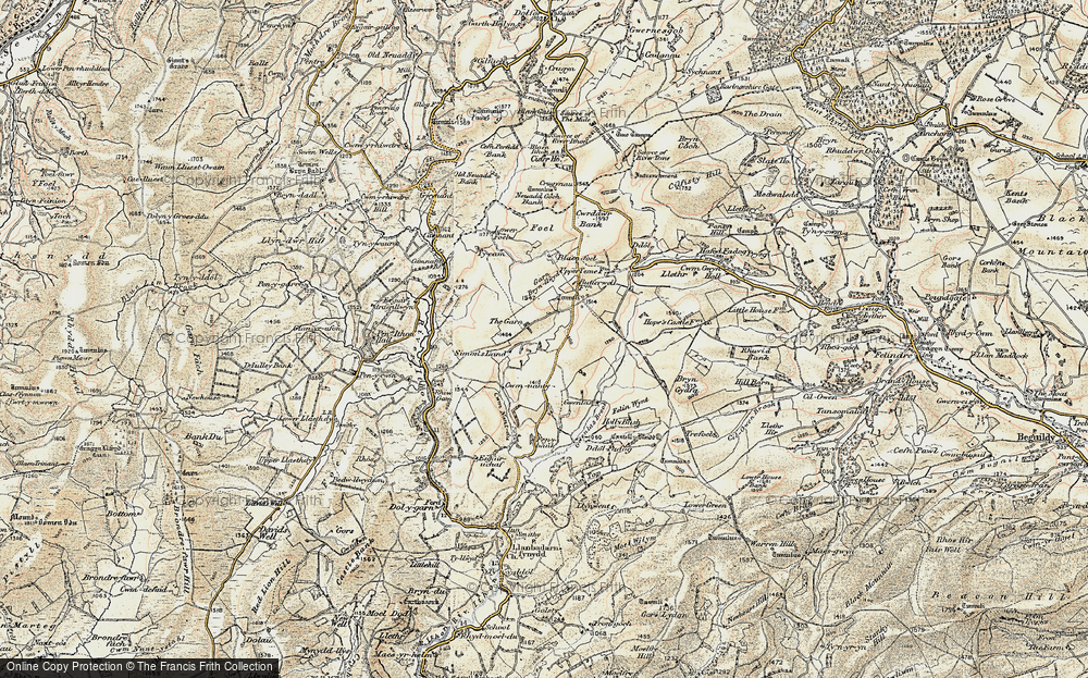 Old Map of Historic Map covering Banc Gorddwr in 1901-1903