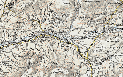 Old map of Banc Cwmhelen in 1900-1901