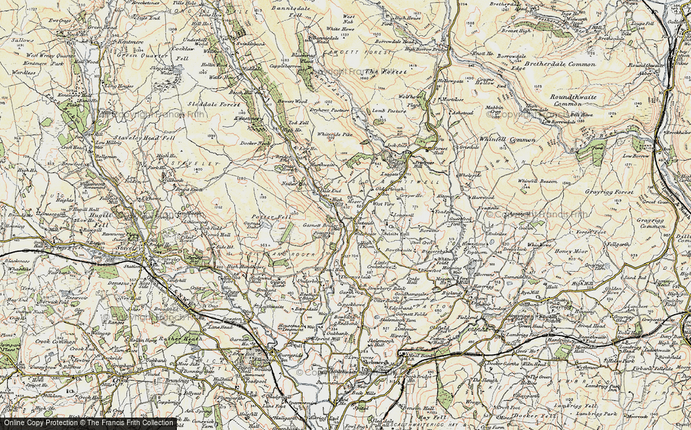 Old Map of Historic Map covering Todd Fell in 1903-1904