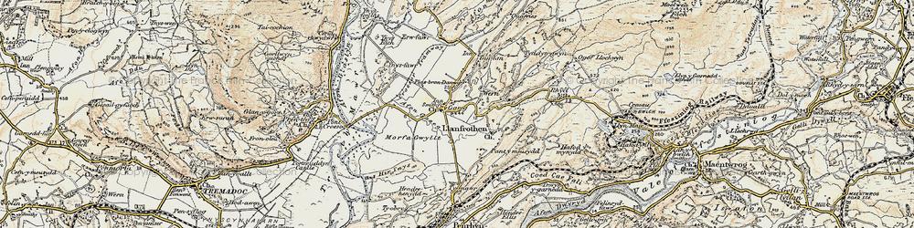 Old map of Garreg in 1903
