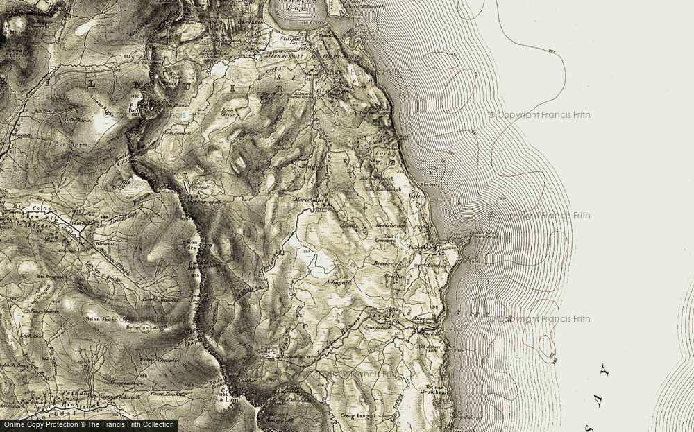 Old Map of Historic Map covering Abhainn Gremiscaig in 1908-1909