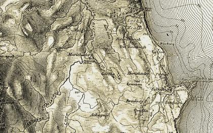 Old map of Abhainn Gremiscaig in 1908-1909