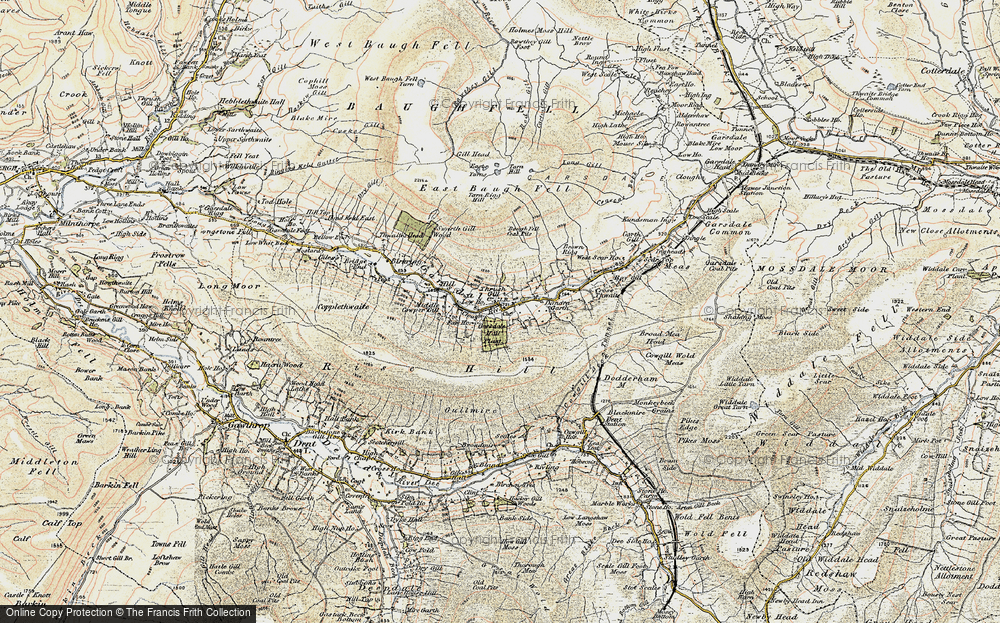 Old Map of Historic Map covering Aye Gill Pike in 1903-1904