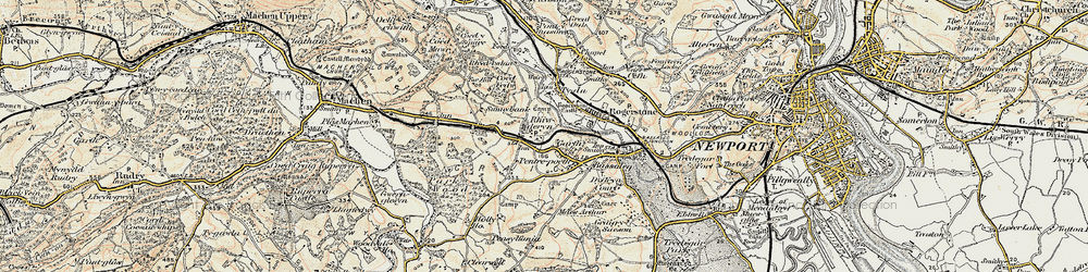 Old map of Garth in 1899-1900