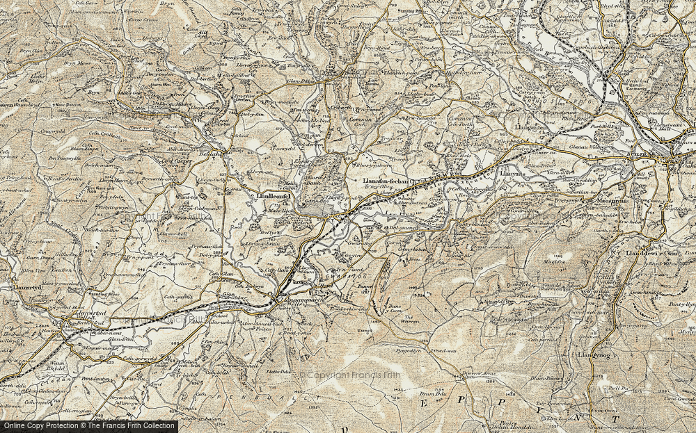 Old Map of Historic Map covering Banc y Cwm in 1900-1902