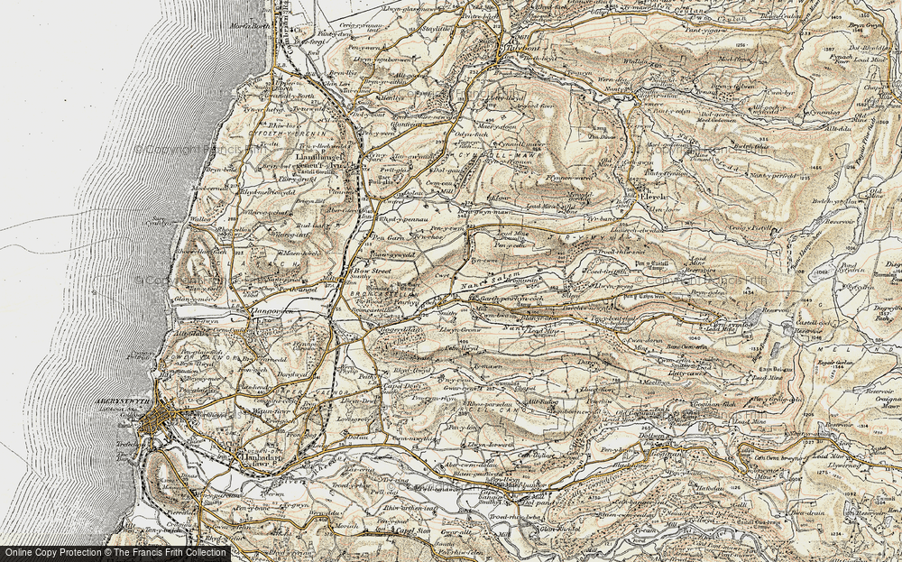 Old Map of Historic Map covering Afon Stewy in 1901-1903