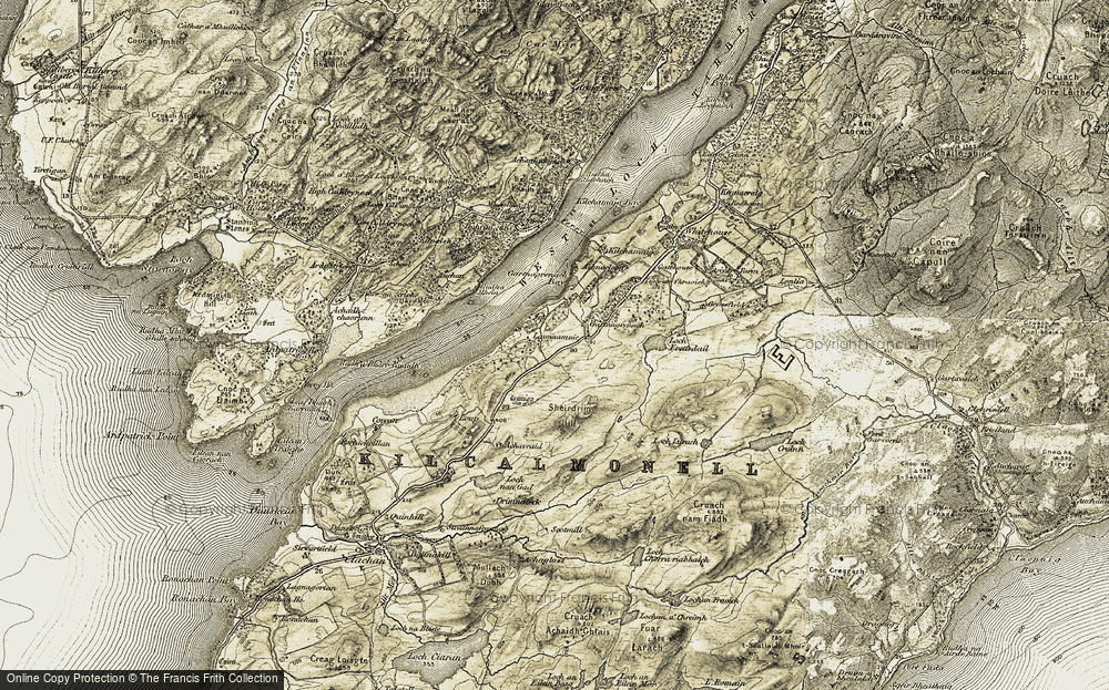 Old Map of Historic Map covering Leamnamuic in 1905-1907