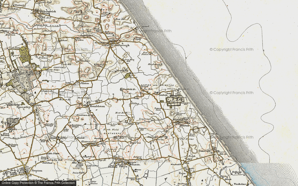 Old Map of Historic Map covering Bail Wood in 1903-1908