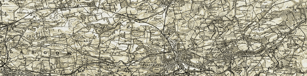 Old map of Woodend Loch in 1904-1905