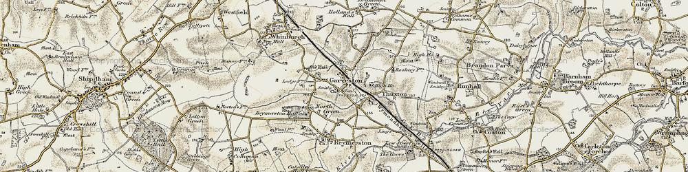 Old map of Garvestone in 1901-1902