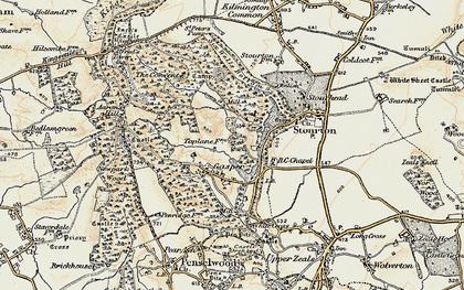 Old map of Aaron's Hill in 1897-1899