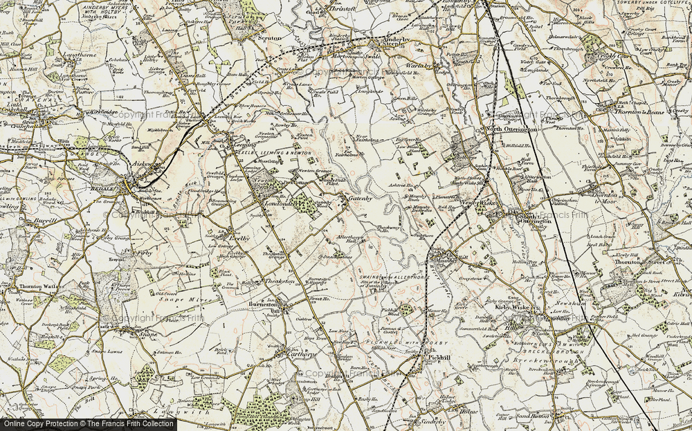 Old Map of Historic Map covering Allerthorpe Hall in 1903-1904
