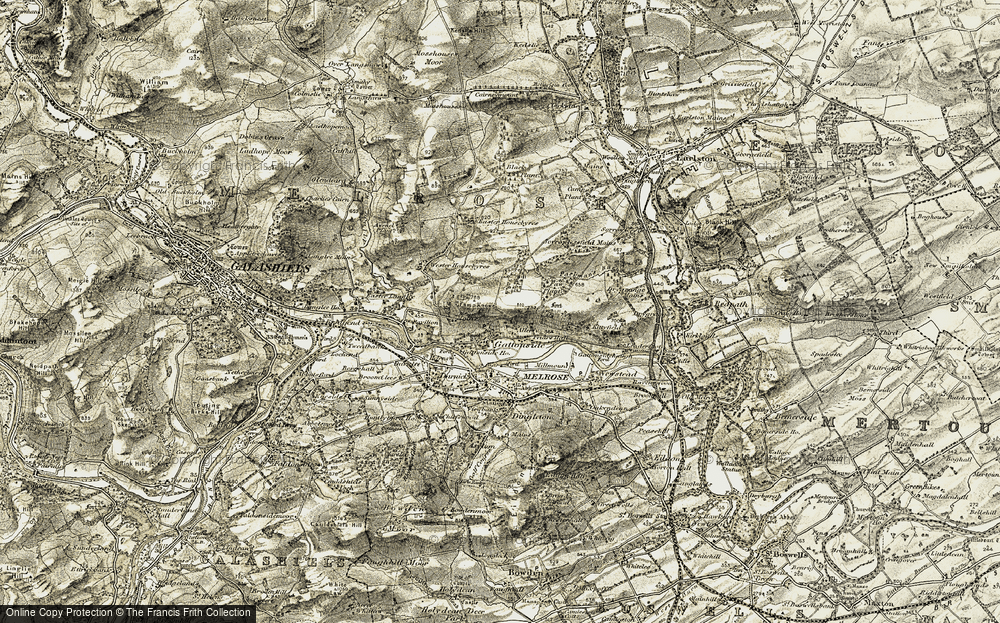 Old Map of Historic Map covering Allerly in 1901-1904