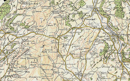 Old map of Whins Beck in 1903-1904