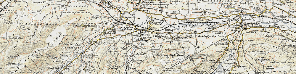 Old map of Wether Fell in 1903-1904