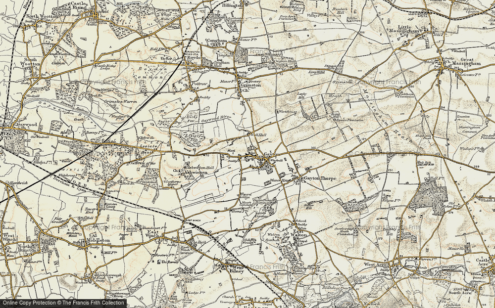 Old Map of Historic Map covering Lanky Hill in 1901-1902
