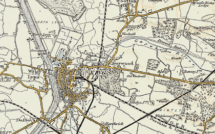 Old map of Gaywood in 1901-1902
