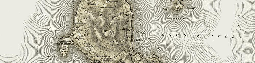 Old map of Abhainn a' Ghlinne in 1908-1911