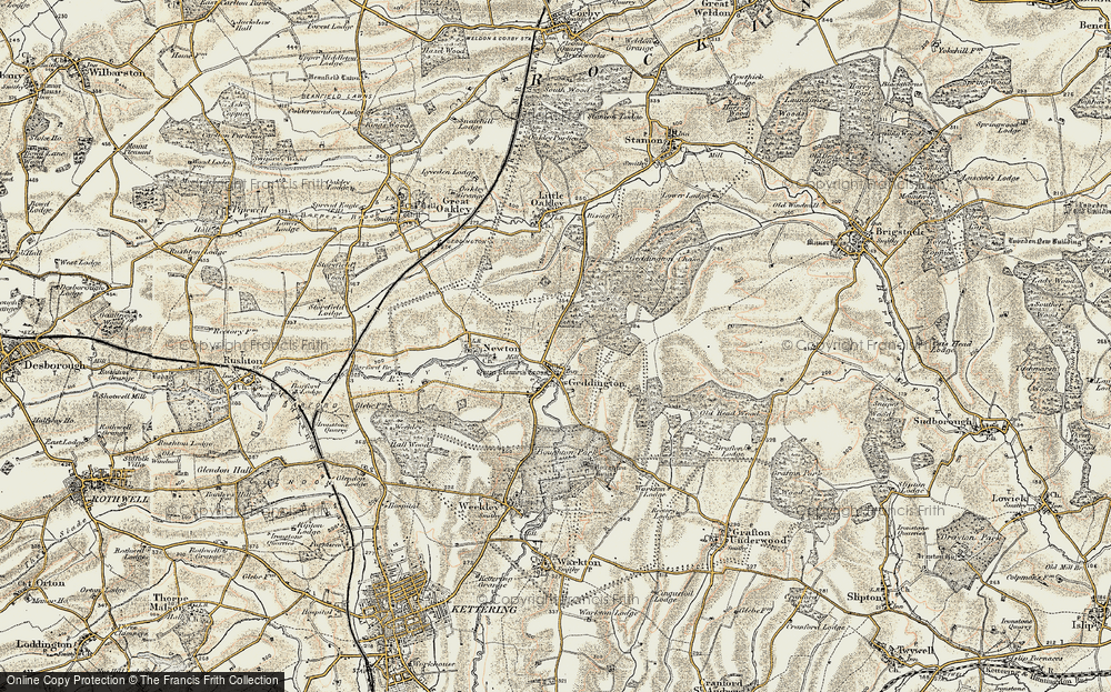Old Map of Geddington, 1901-1902 in 1901-1902