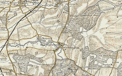Old map of Geddington in 1901-1902