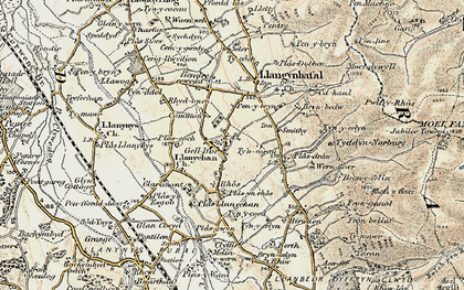 Old map of Gellifor in 1902-1903