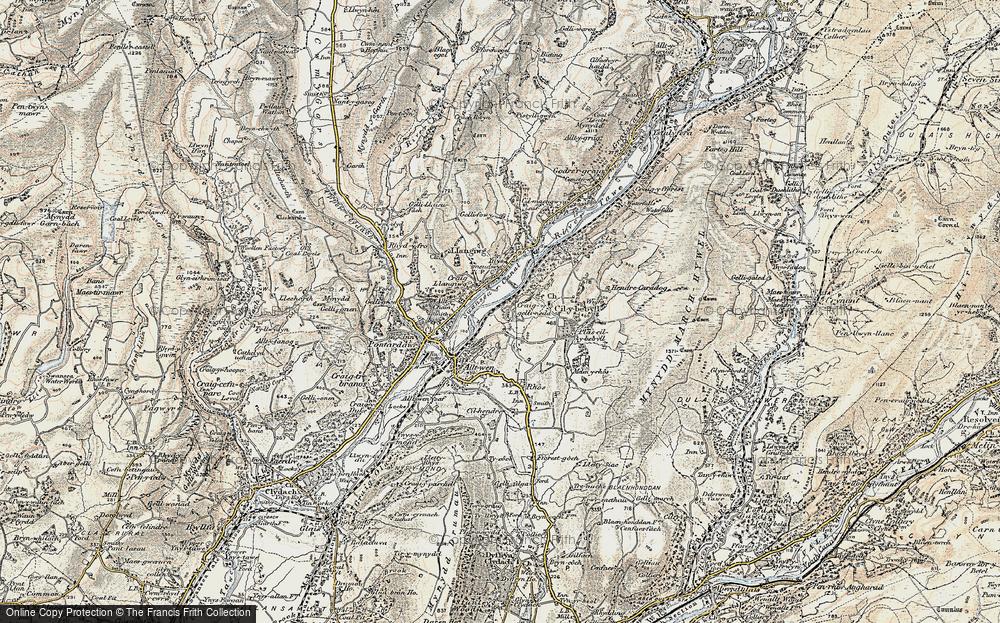 Old Map of Gellinudd, 1900-1901 in 1900-1901