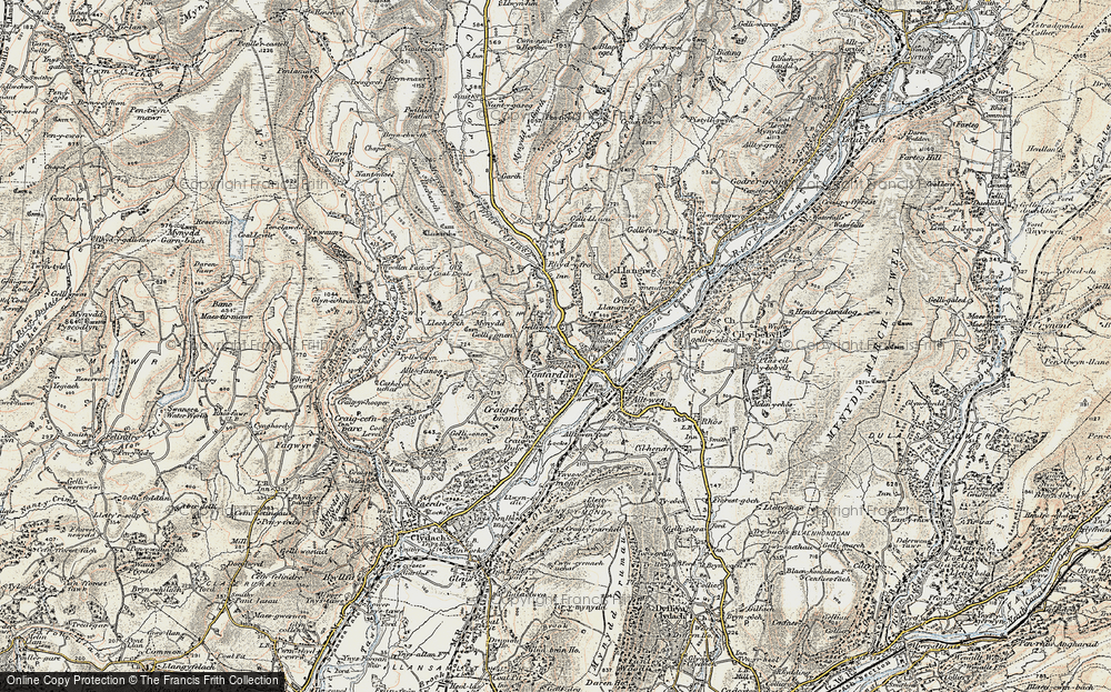 Old Map of Gellygron, 1900-1901 in 1900-1901