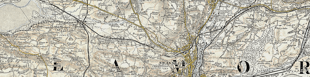 Old map of Gendros in 1900-1901