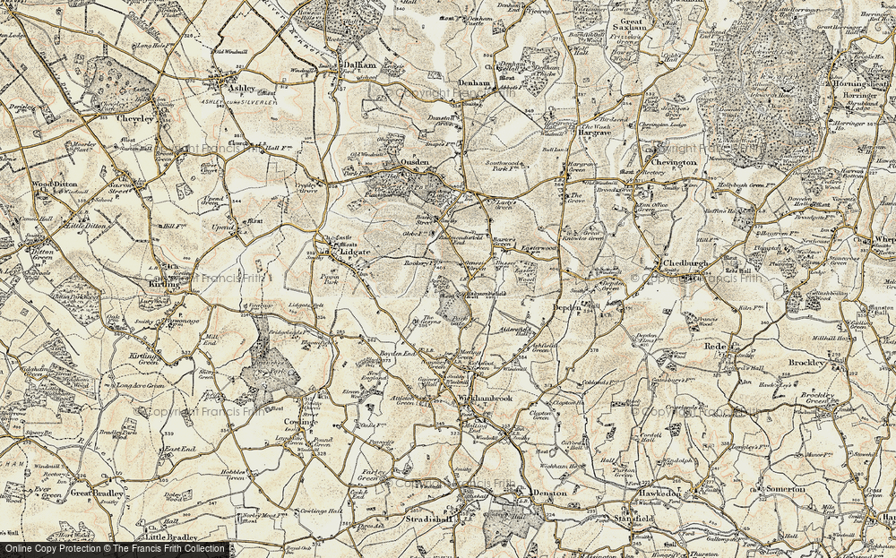 Old Map of Historic Map covering Badmondisfield Hall in 1899-1901