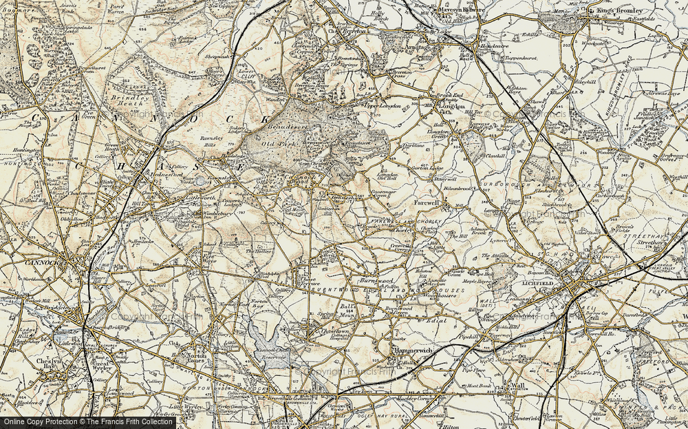 Old Map of Gentleshaw, 1902 in 1902