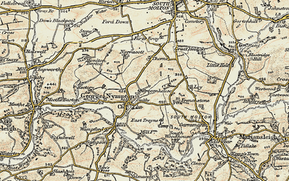 Old map of Yealmacott in 1899-1900