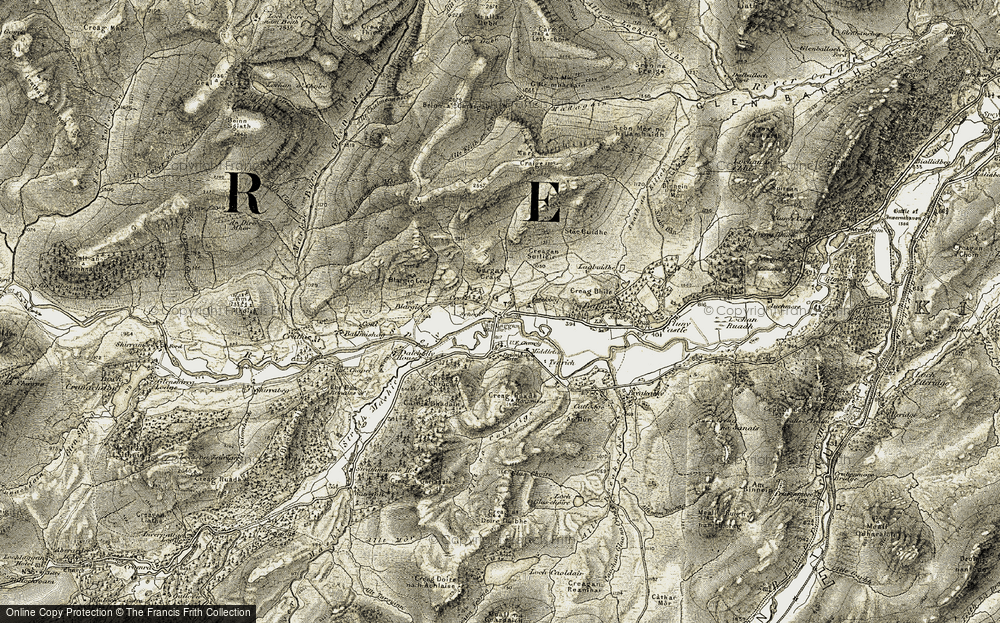 Old Map of Historic Map covering Allt Fèith an t-Seilich in 1908