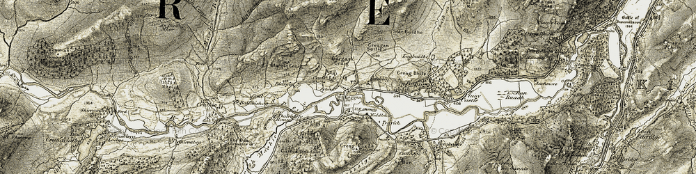 Old map of Allt Fèith an t-Seilich in 1908