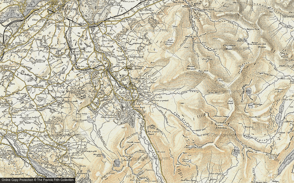 Old Map of Historic Map covering Afon Ffrydlas in 1903-1910