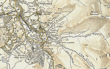 Old map of Afon Caseg in 1903-1910