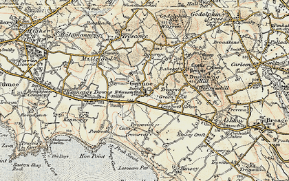 Old map of Germoe in 1900